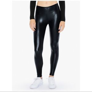 American Apparel Metallic Black Leggings sz L